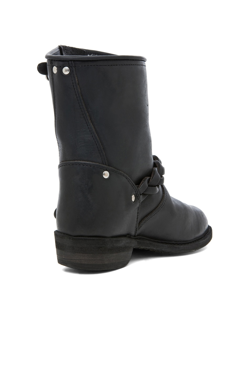 Image 3 of Golden Goose Leather Short Biker Boots in Black Stud