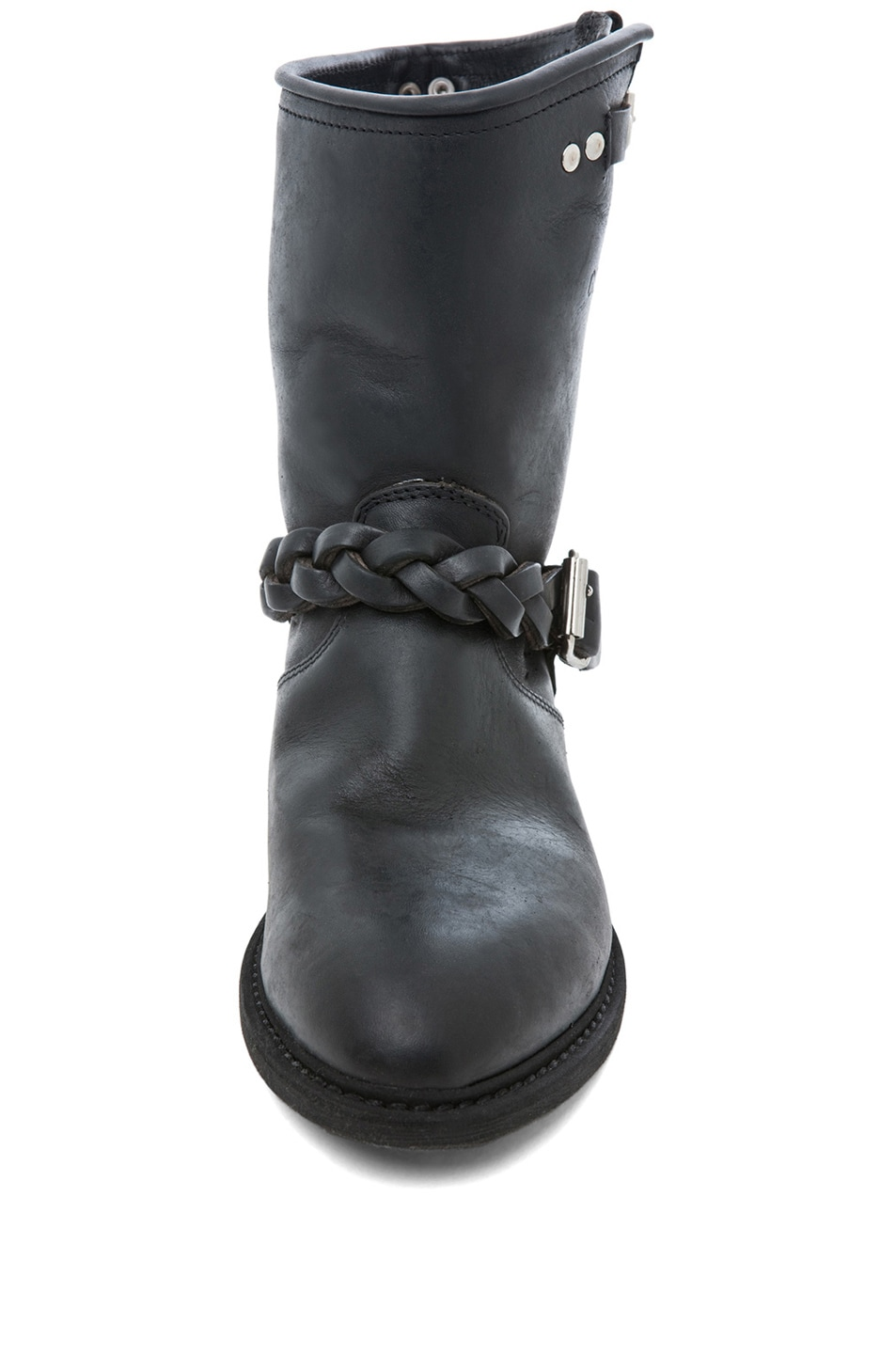 Image 4 of Golden Goose Leather Short Biker Boots in Black Stud