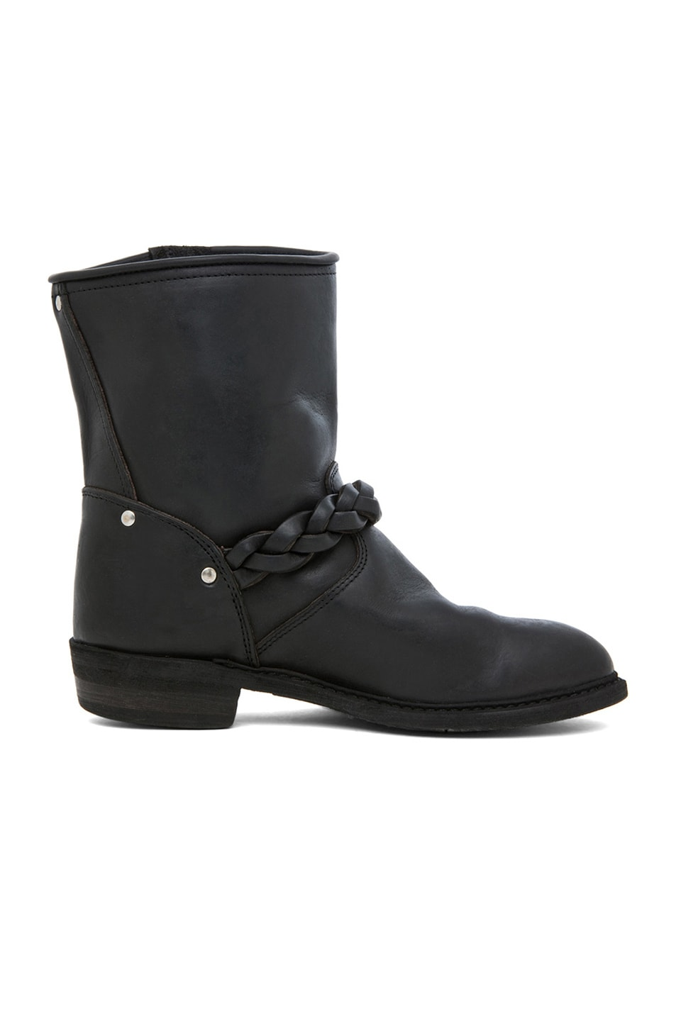Image 5 of Golden Goose Leather Short Biker Boots in Black Stud