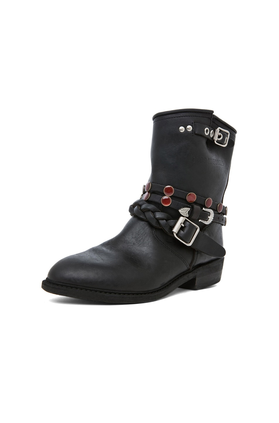 Image 6 of Golden Goose Leather Short Biker Boots in Black Stud