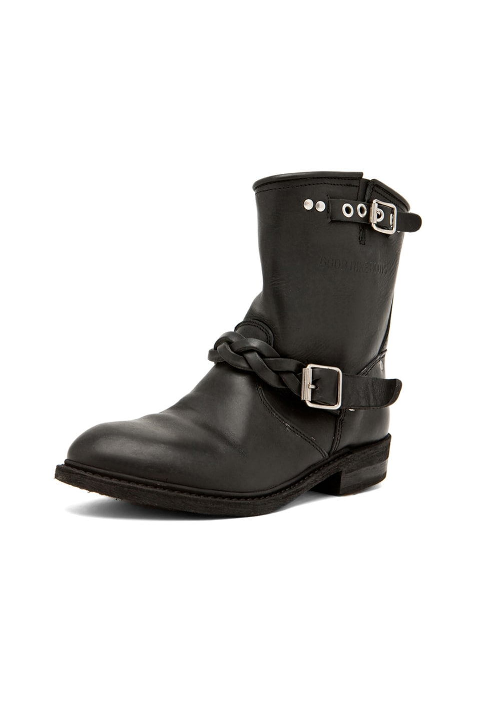 Image 2 of Golden Goose Leather Short Biker Boots in Black