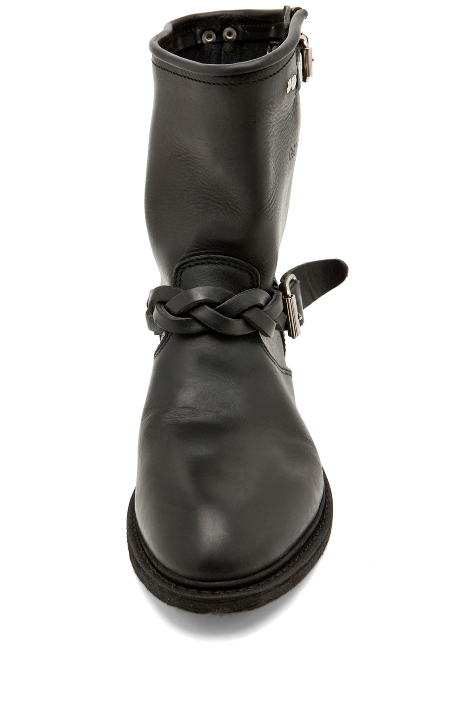 Image 4 of Golden Goose Leather Short Biker Boots in Black