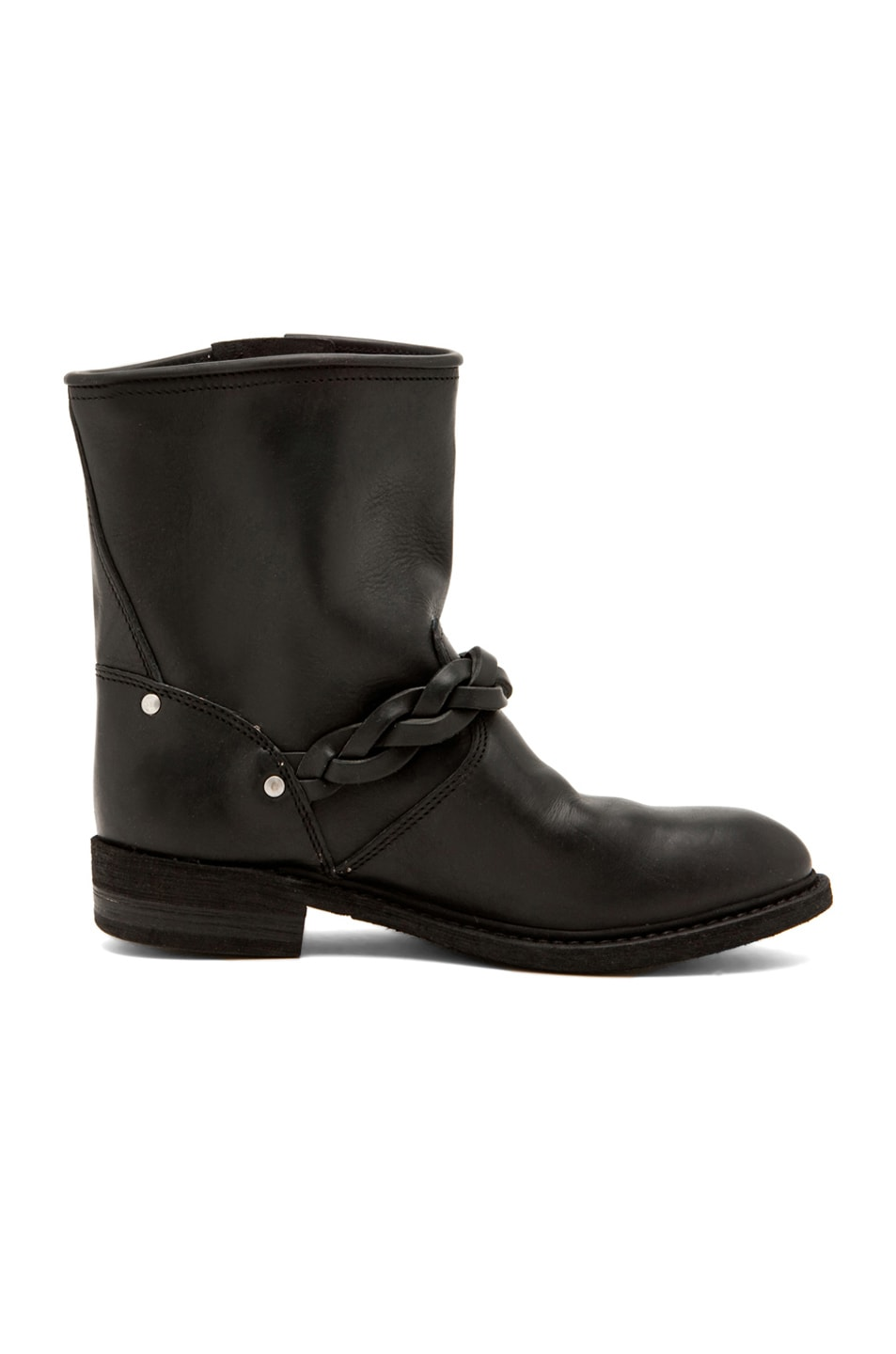 Image 5 of Golden Goose Leather Short Biker Boots in Black