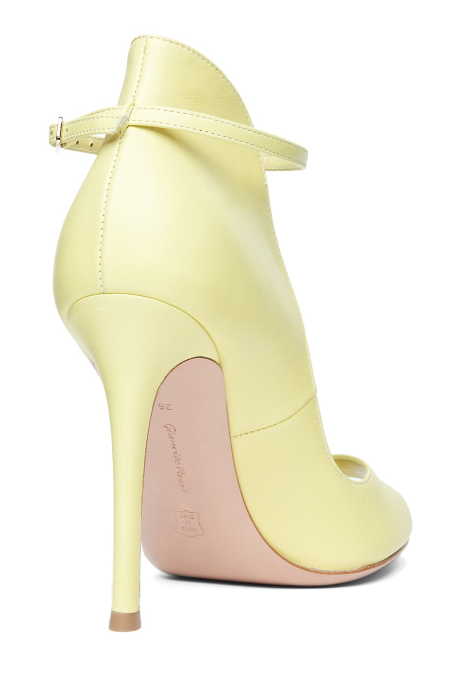 Image 3 of Gianvito Rossi Nappy Leather Open Toe Heel in Lemon