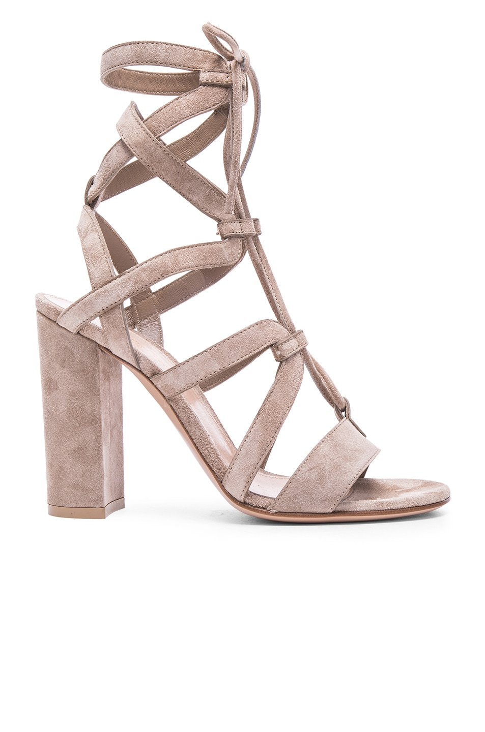 Image 1 of Gianvito Rossi Suede Lace Up Heels in Bisque