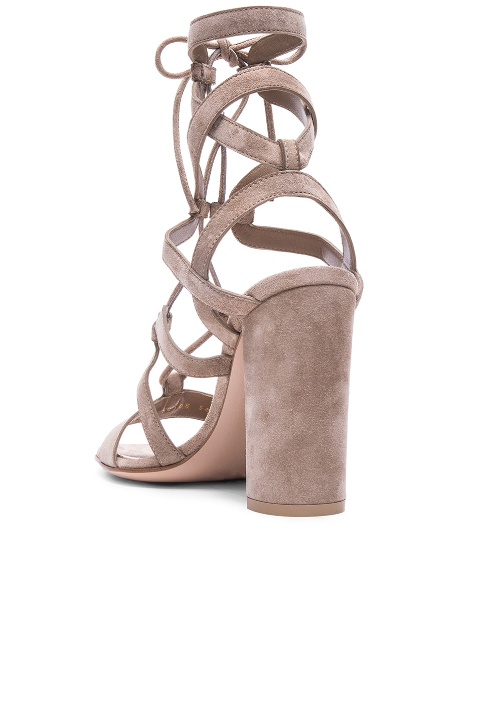 Image 3 of Gianvito Rossi Suede Lace Up Heels in Bisque