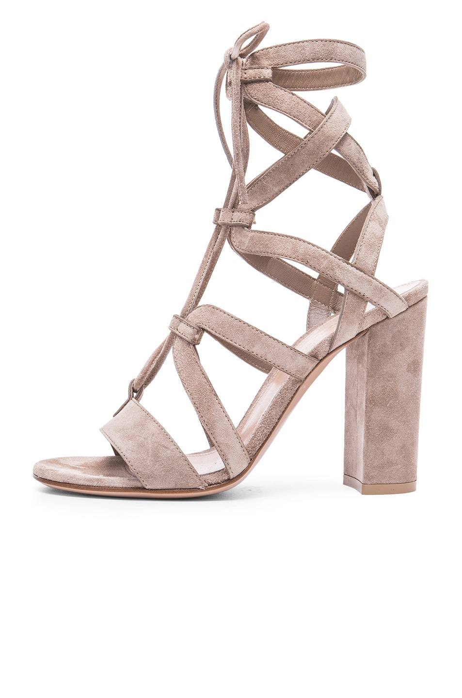 Image 5 of Gianvito Rossi Suede Lace Up Heels in Bisque