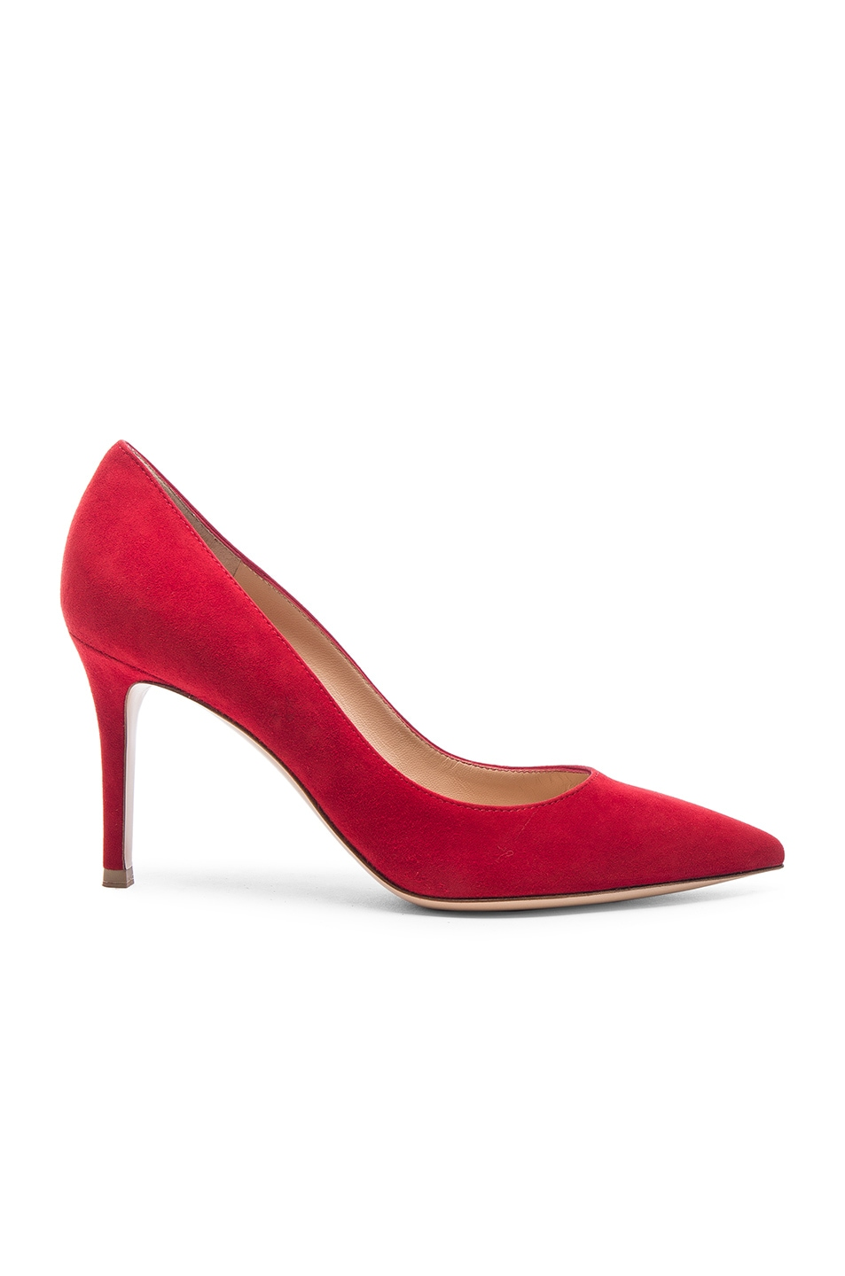 Image 1 of Gianvito Rossi Suede Gianvito 85 Pumps in Tabasco Red