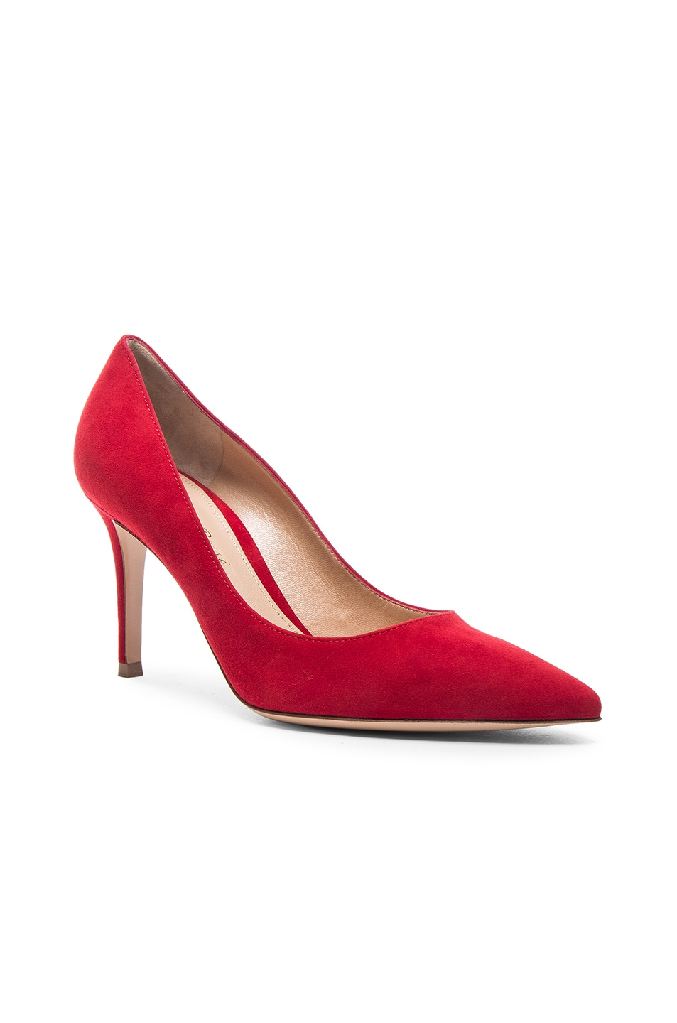 Image 2 of Gianvito Rossi Suede Gianvito 85 Pumps in Tabasco Red