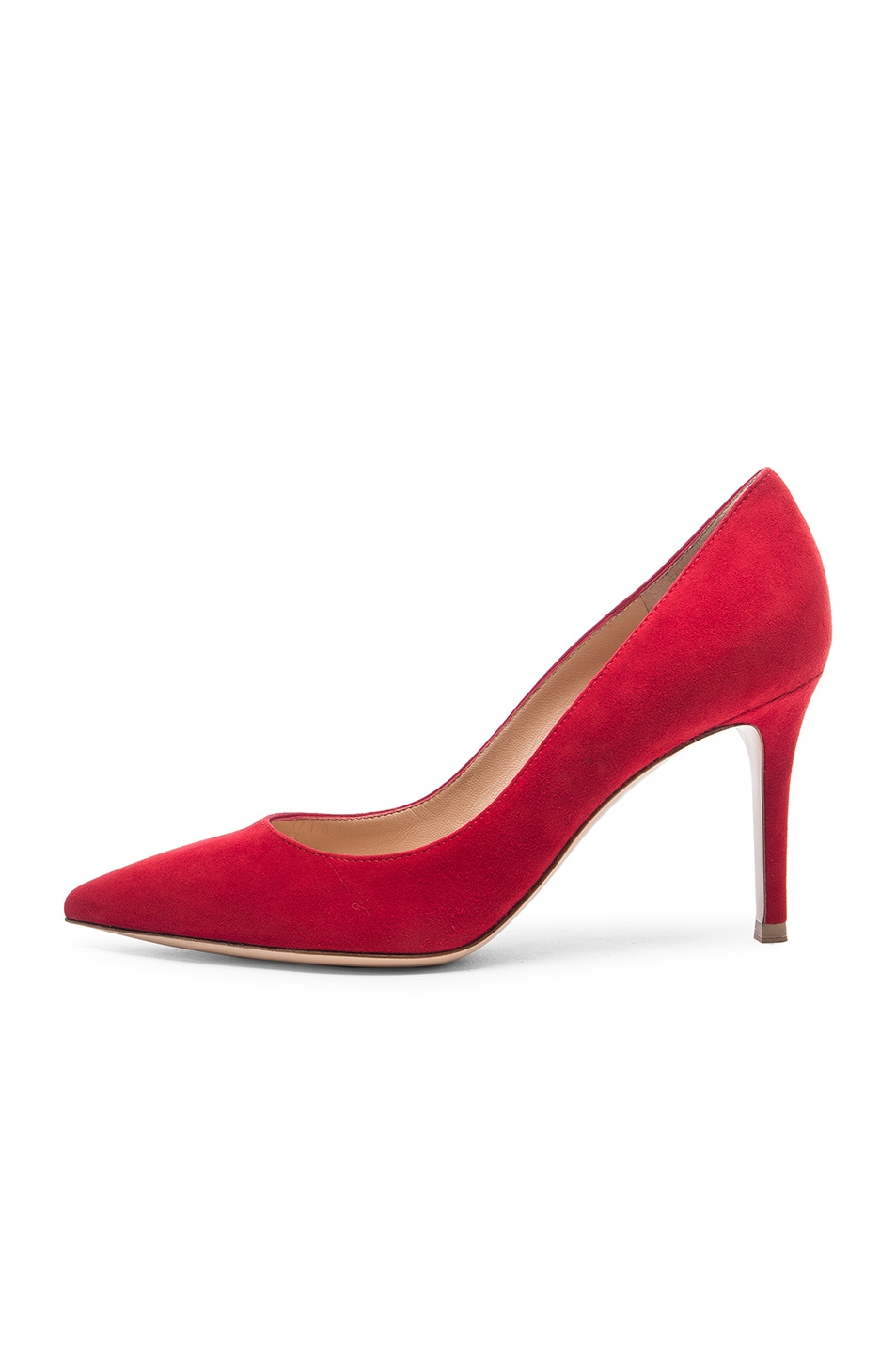 Image 5 of Gianvito Rossi Suede Gianvito 85 Pumps in Tabasco Red