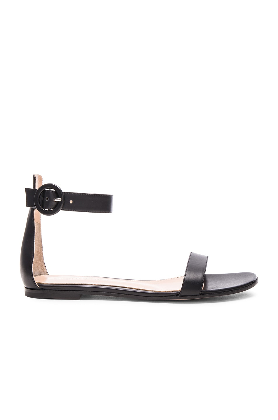 Image 1 of Gianvito Rossi Leather Ankle Strap Sandals in Black