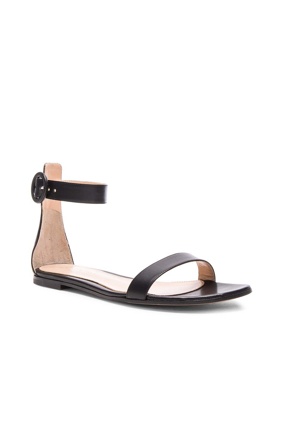 Image 2 of Gianvito Rossi Leather Ankle Strap Sandals in Black