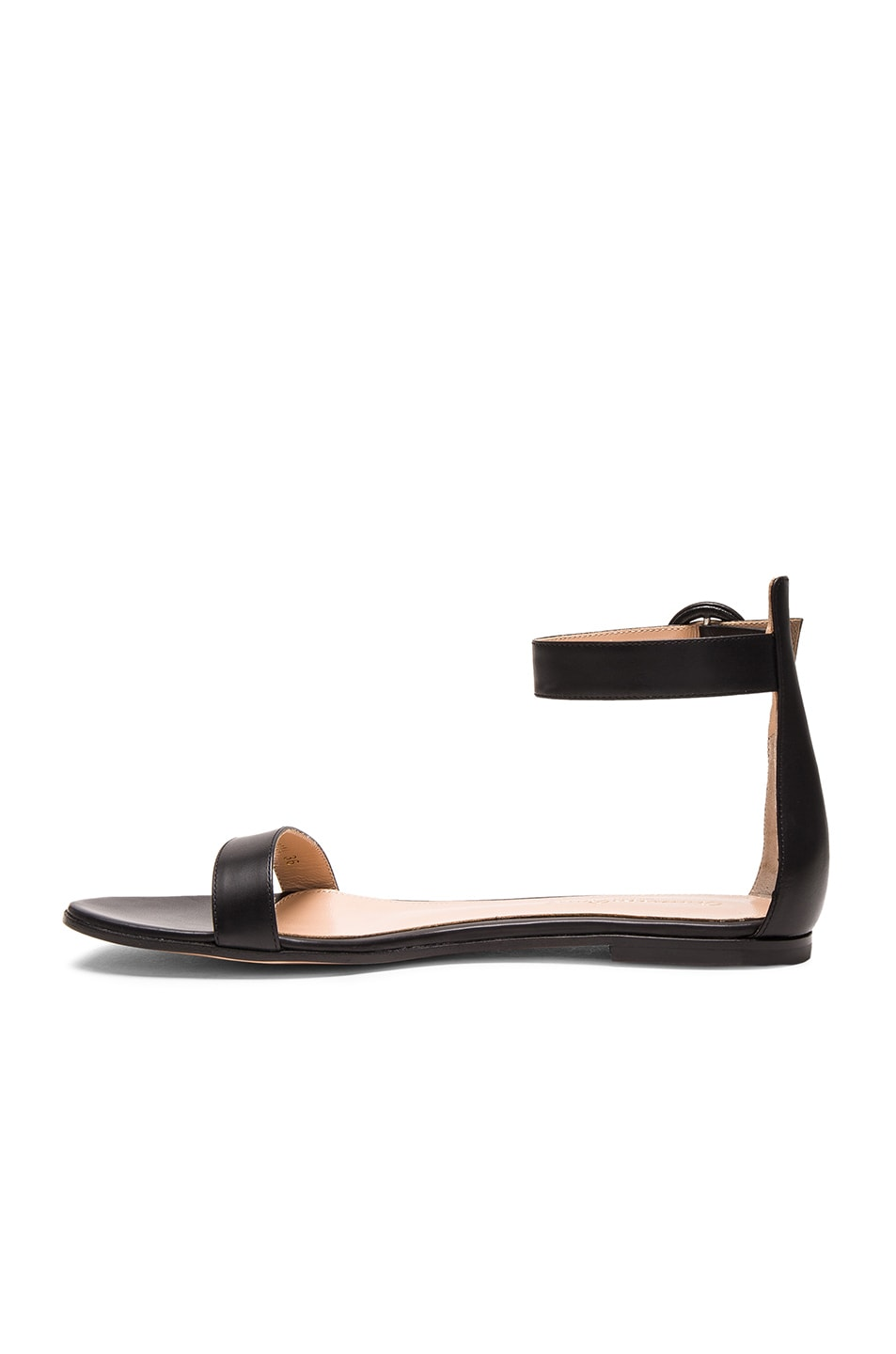 Image 5 of Gianvito Rossi Leather Ankle Strap Sandals in Black