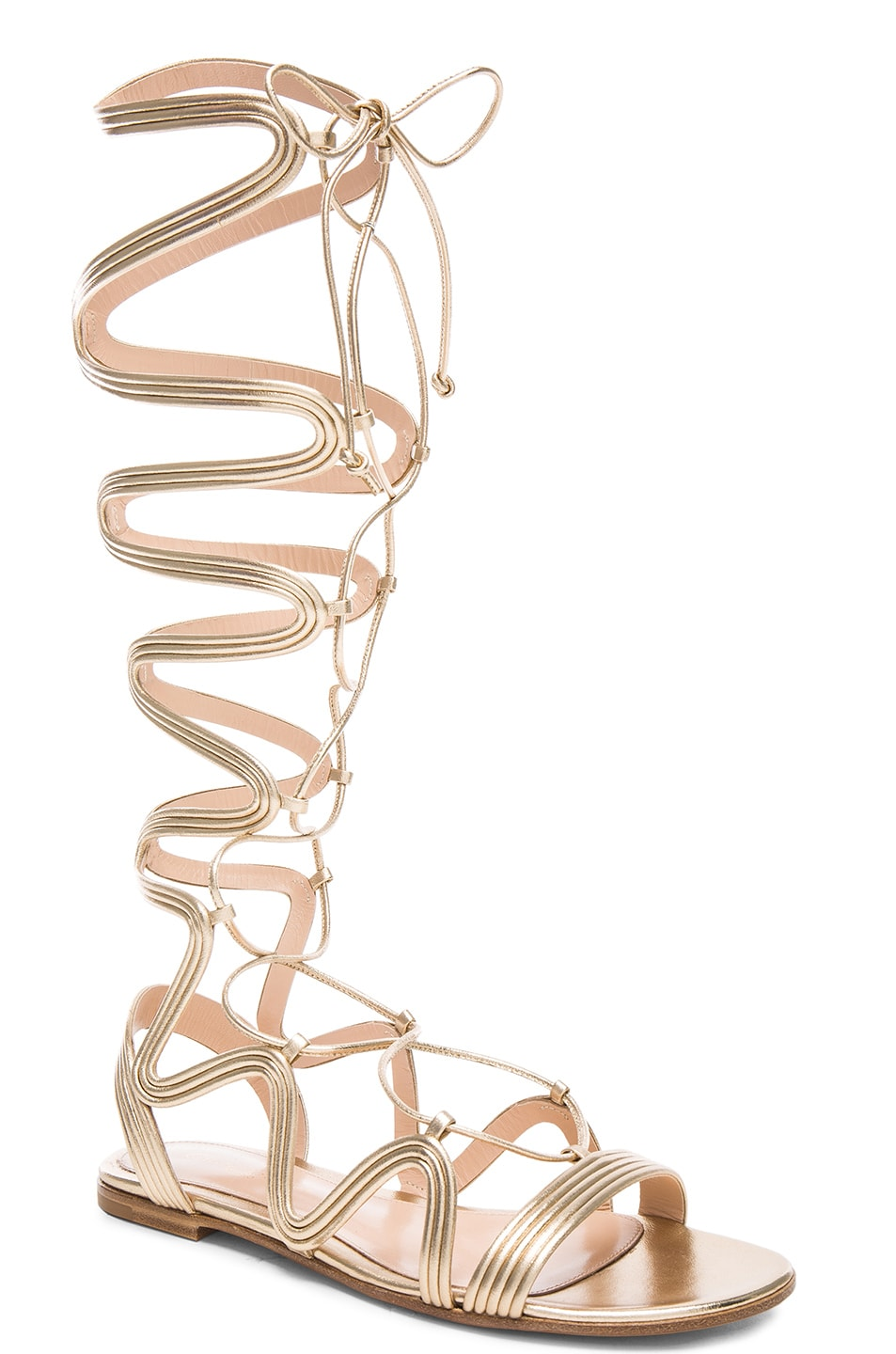 Image 2 of Gianvito Rossi Leather Medusa Gladiator Sandals in Mekong