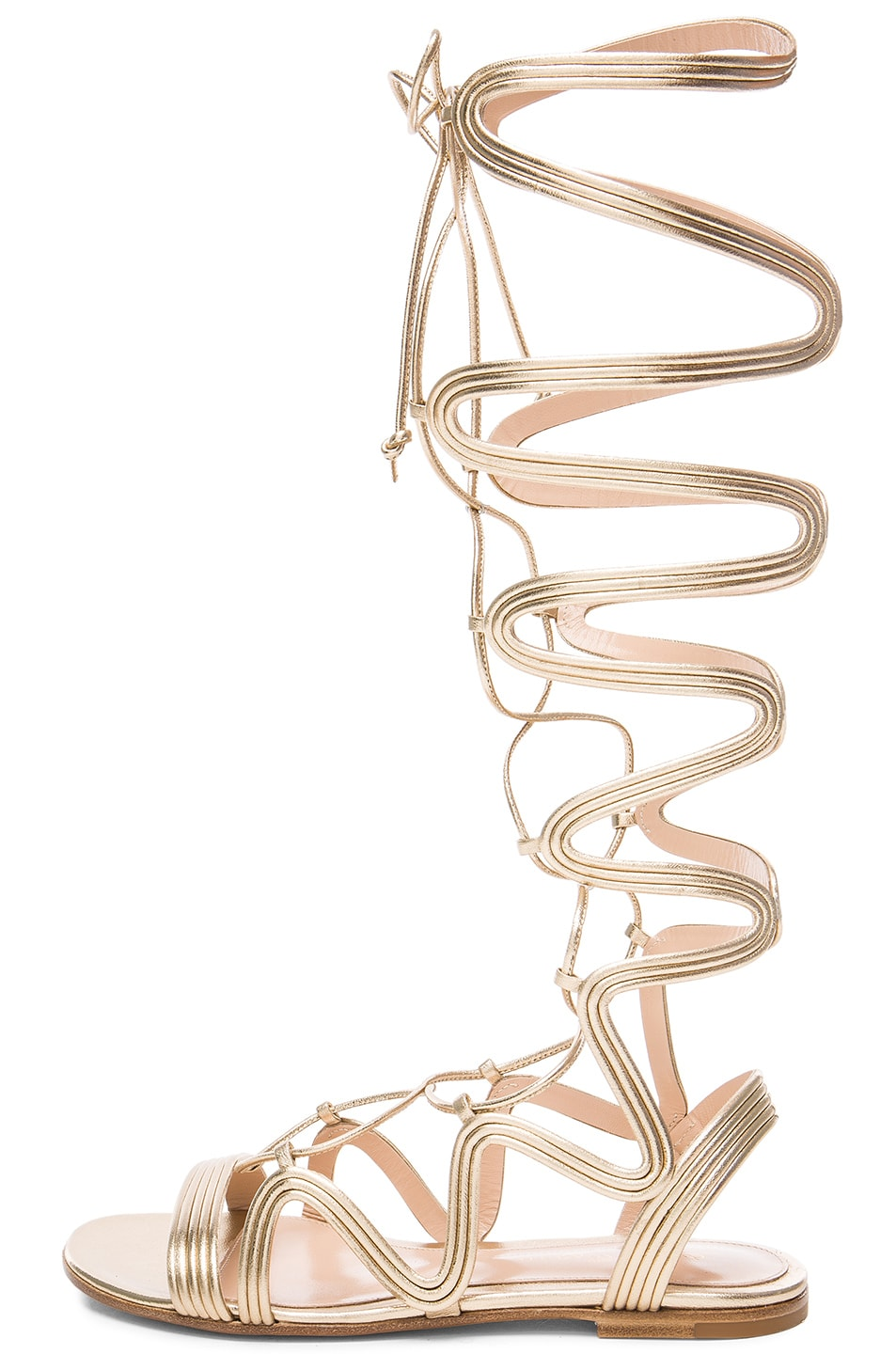 Image 5 of Gianvito Rossi Leather Medusa Gladiator Sandals in Mekong