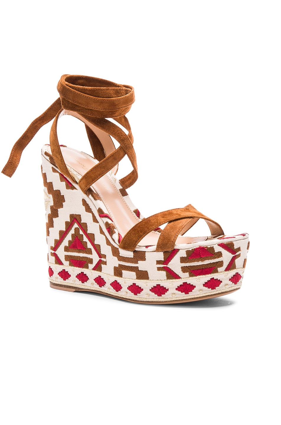 Image 2 of Gianvito Rossi Printed Suede Wedges in Luggage