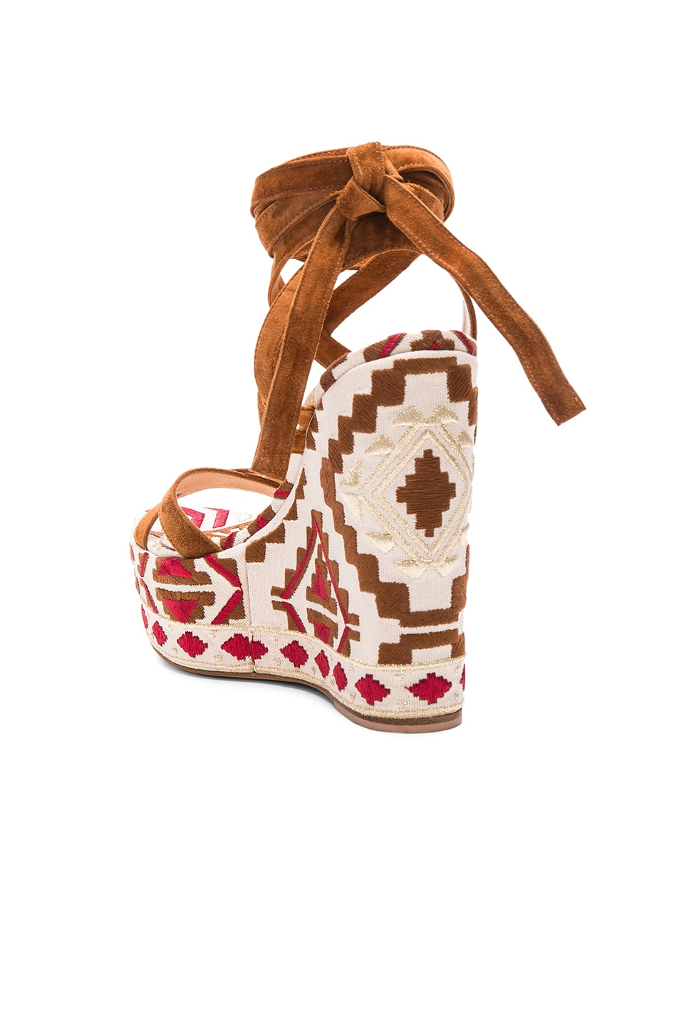 Image 3 of Gianvito Rossi Printed Suede Wedges in Luggage