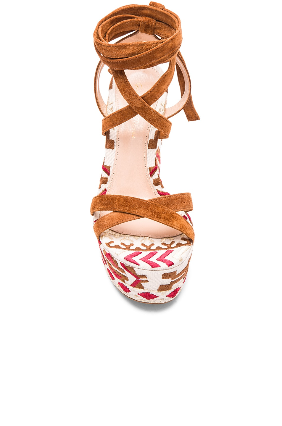 Image 4 of Gianvito Rossi Printed Suede Wedges in Luggage