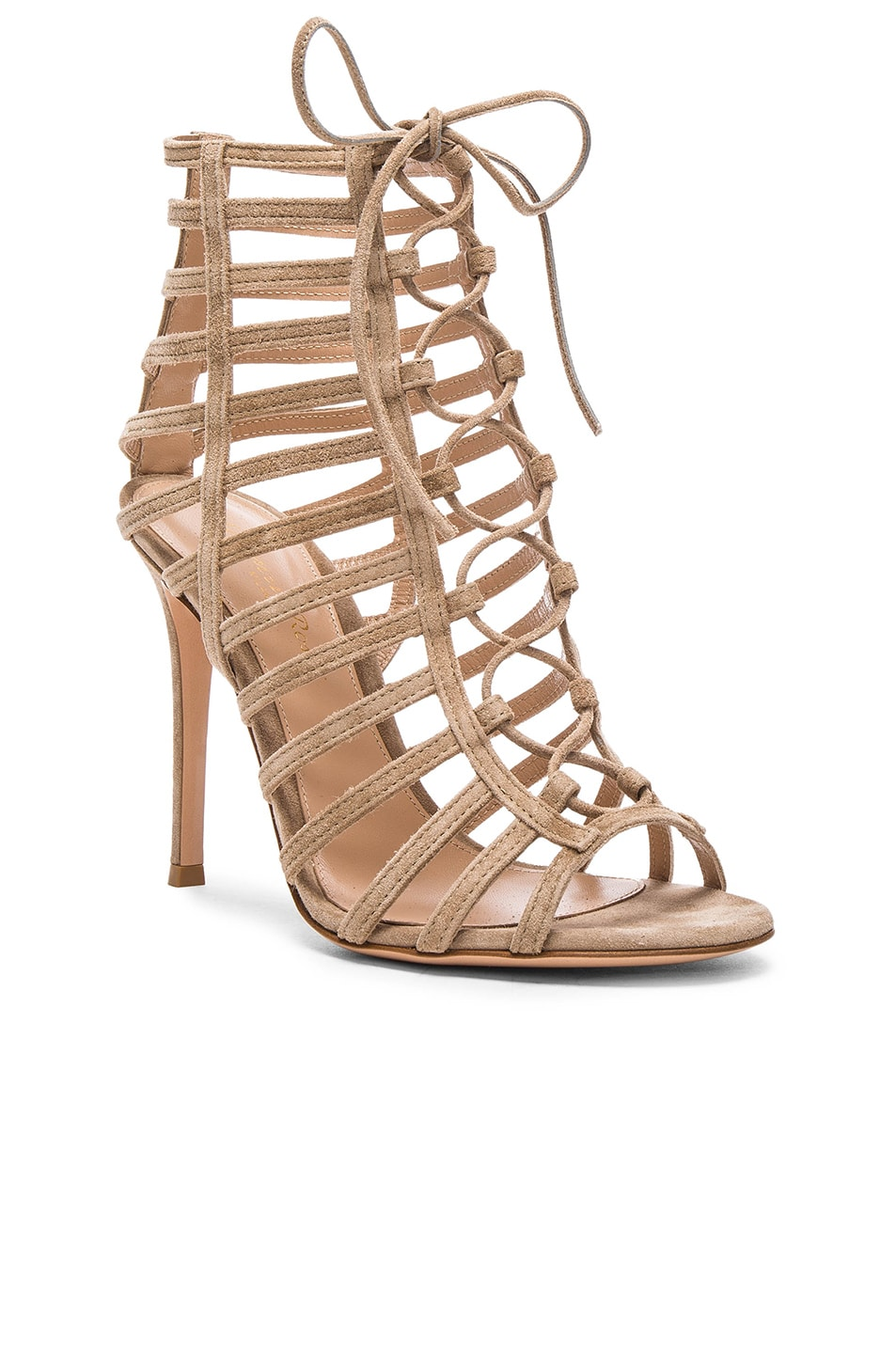Image 2 of Gianvito Rossi Lace Up Heels in Bisque