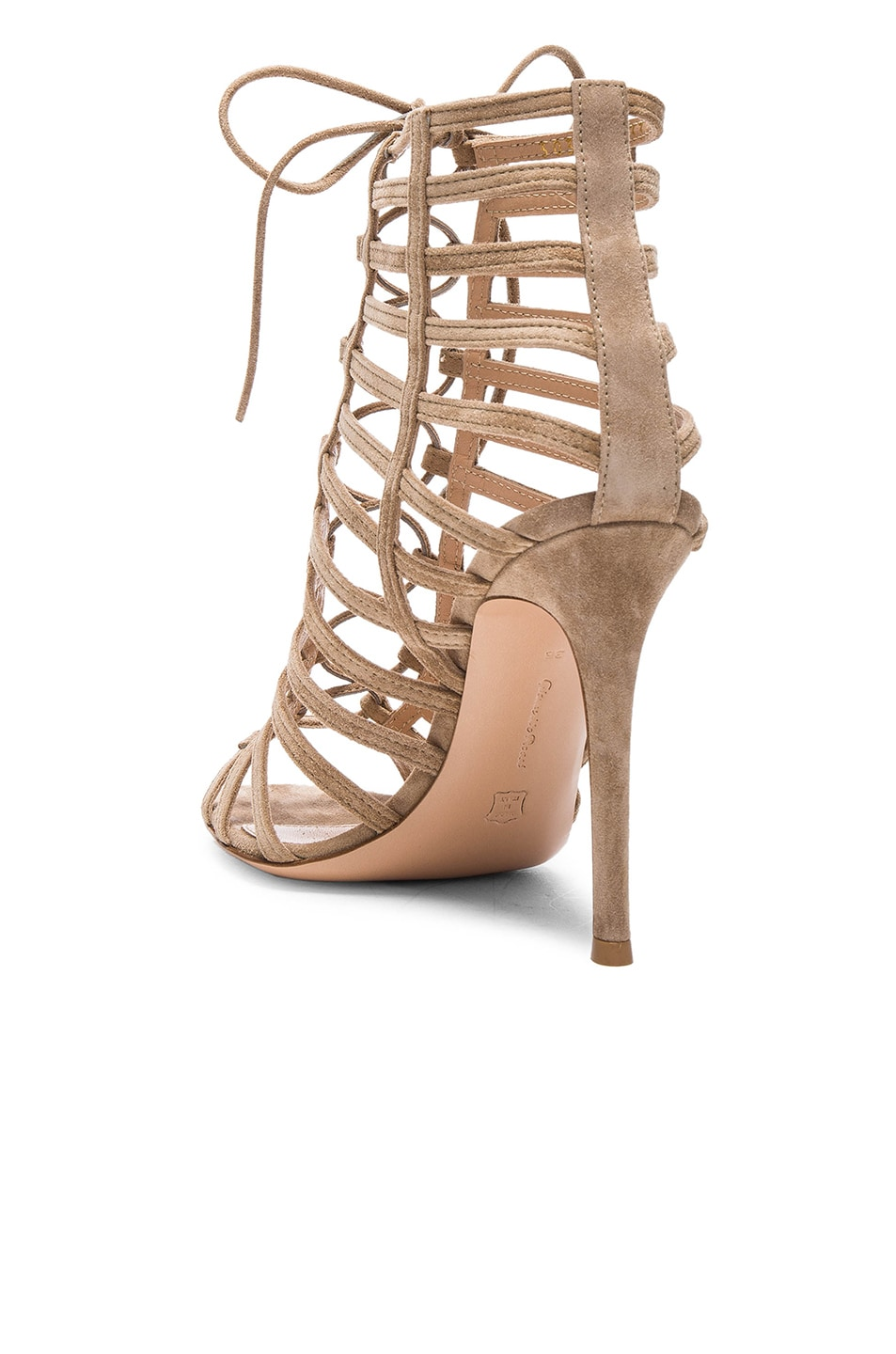 Image 3 of Gianvito Rossi Lace Up Heels in Bisque