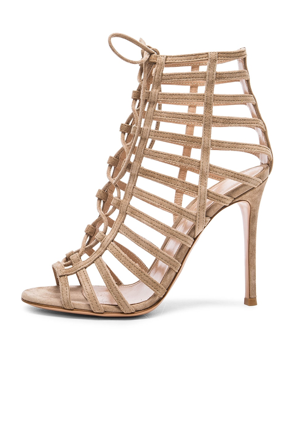 Image 5 of Gianvito Rossi Lace Up Heels in Bisque