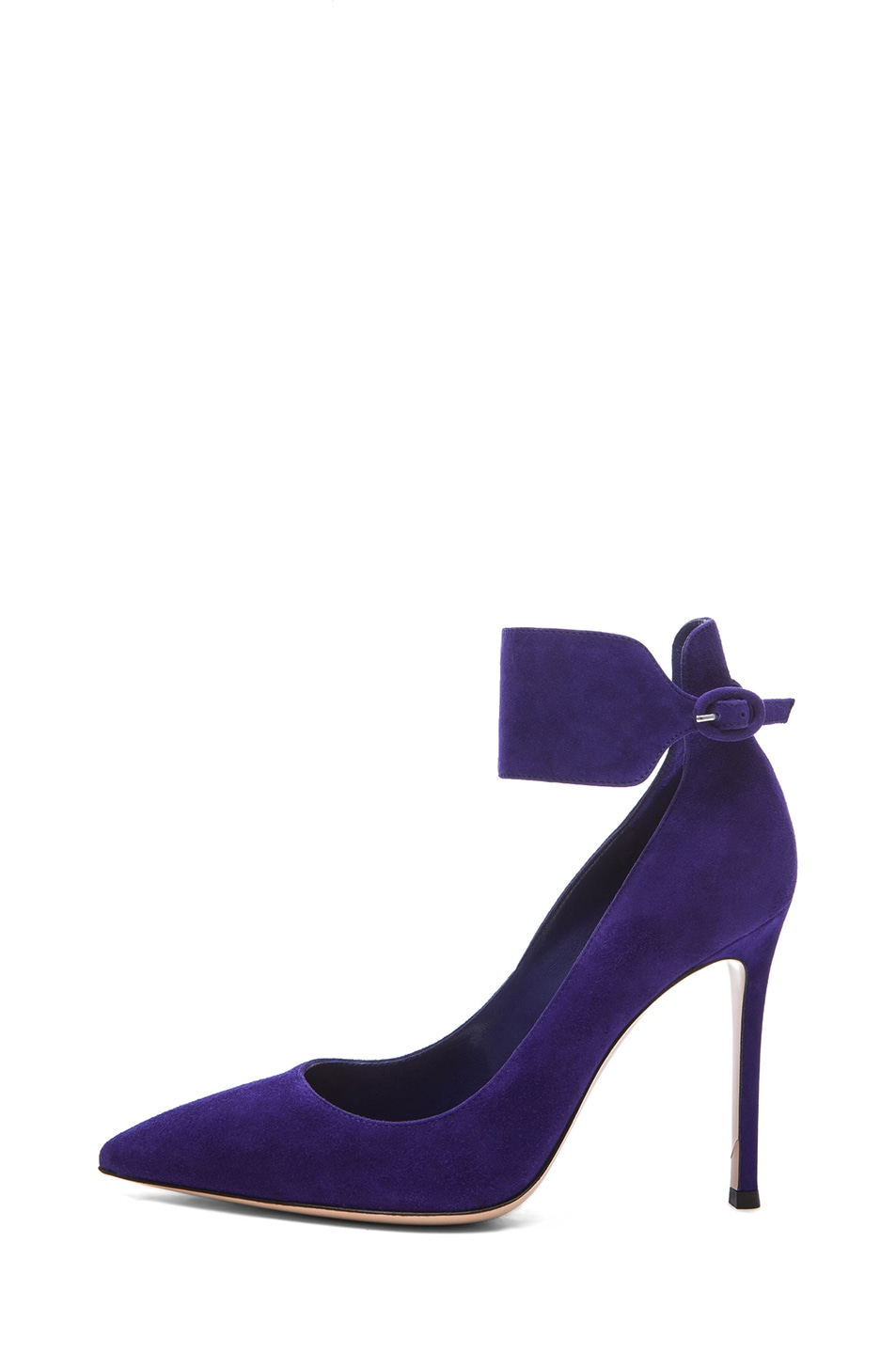 Image 1 of Gianvito Rossi Suede Ankle Strap Pumps in Indigo