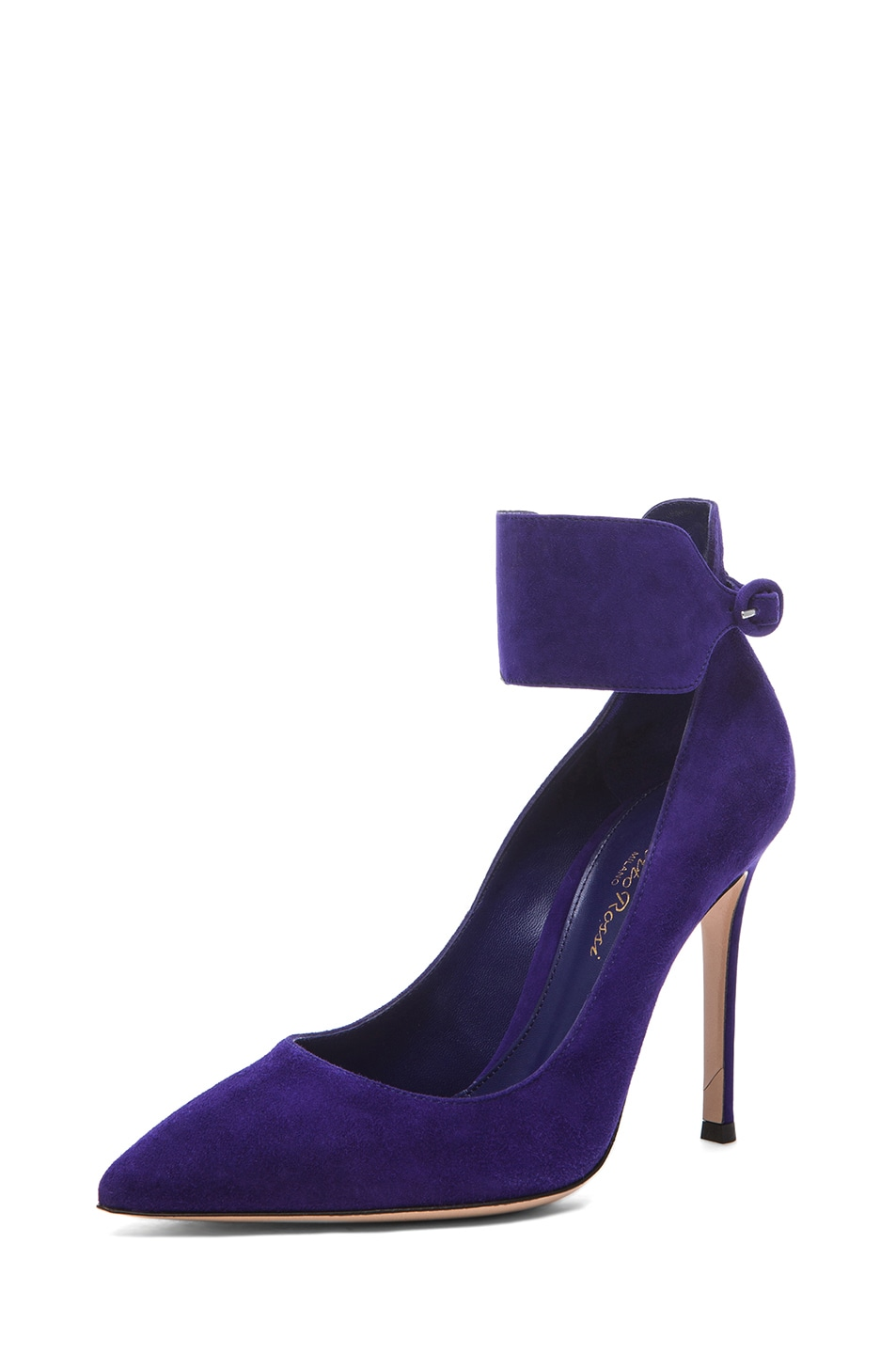 Image 2 of Gianvito Rossi Suede Ankle Strap Pumps in Indigo