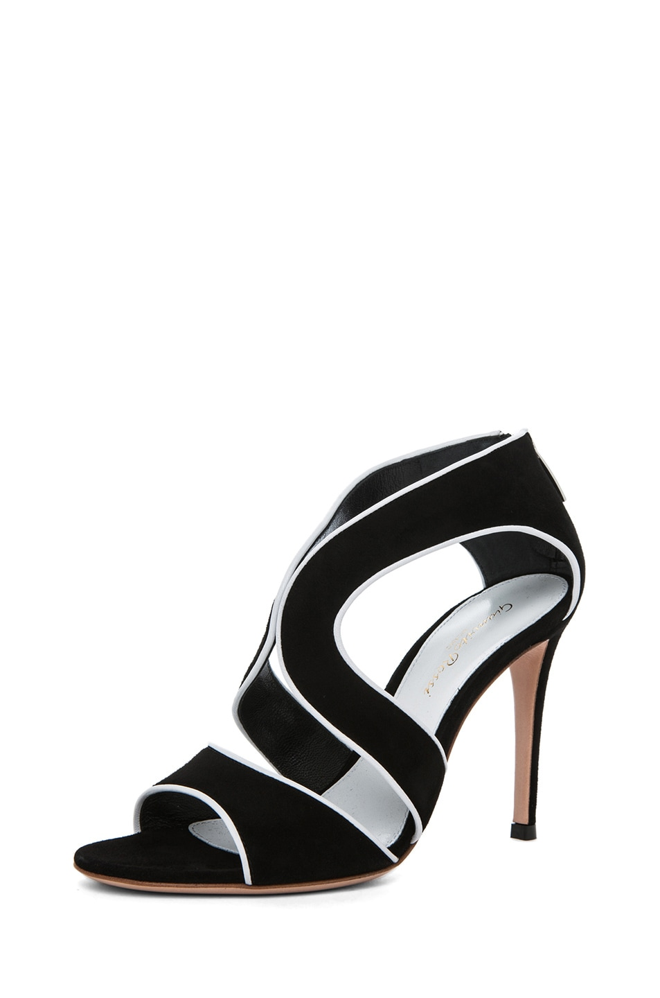 Image 2 of Gianvito Rossi Suede White Contrast Heel in Black