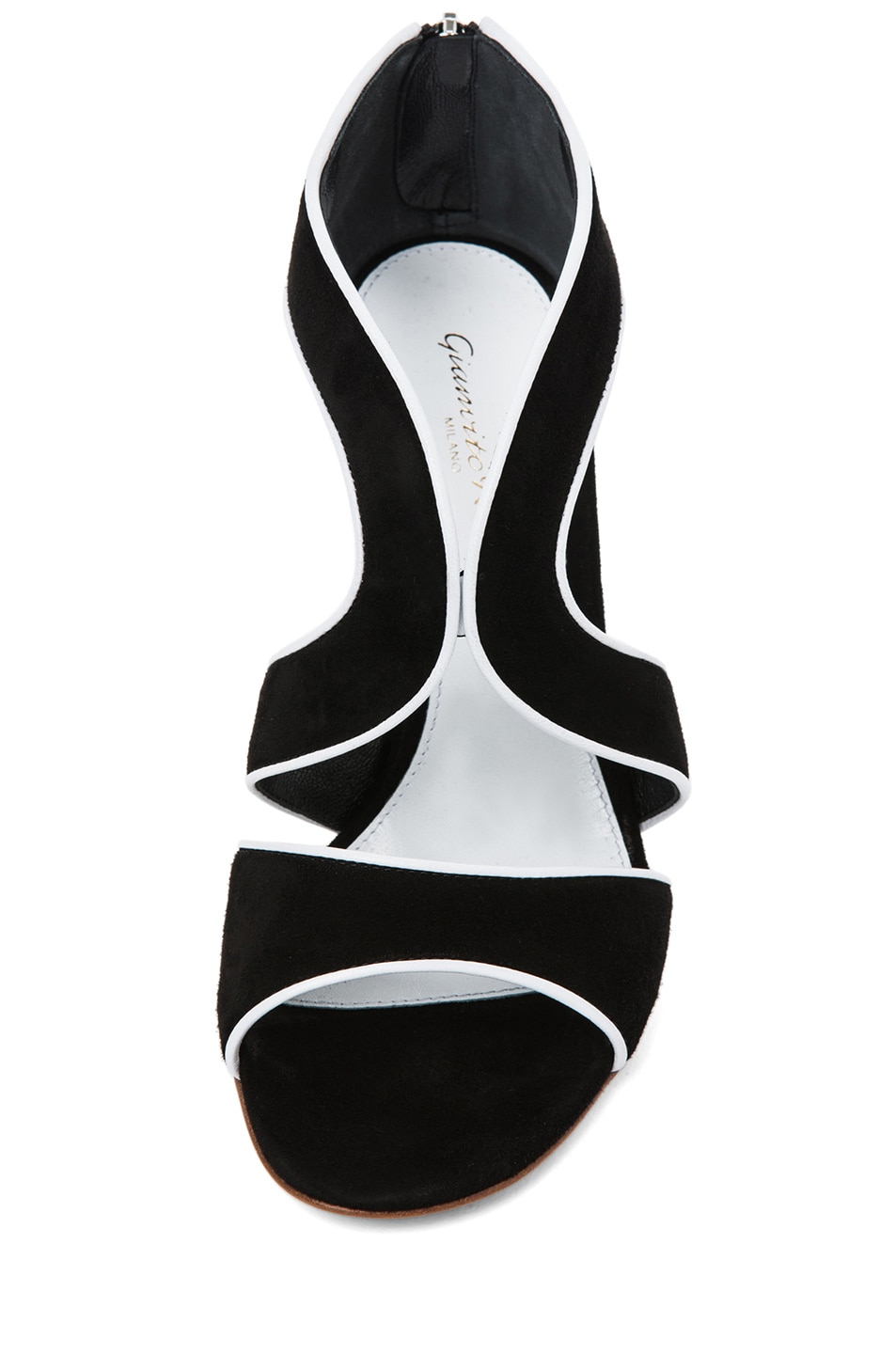 Image 4 of Gianvito Rossi Suede White Contrast Heel in Black
