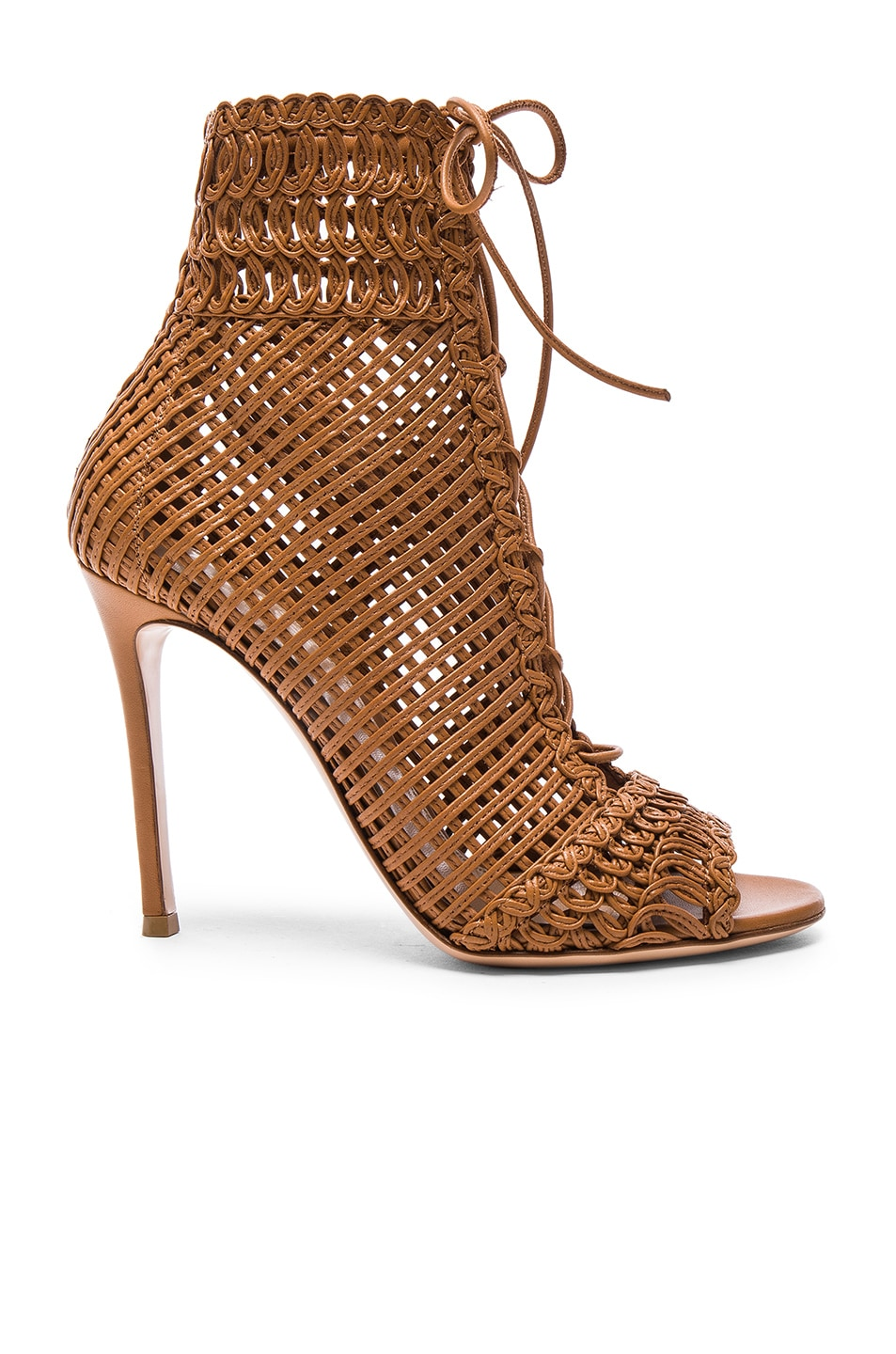 Gianvito Rossi Leathers Woven Leather Booties