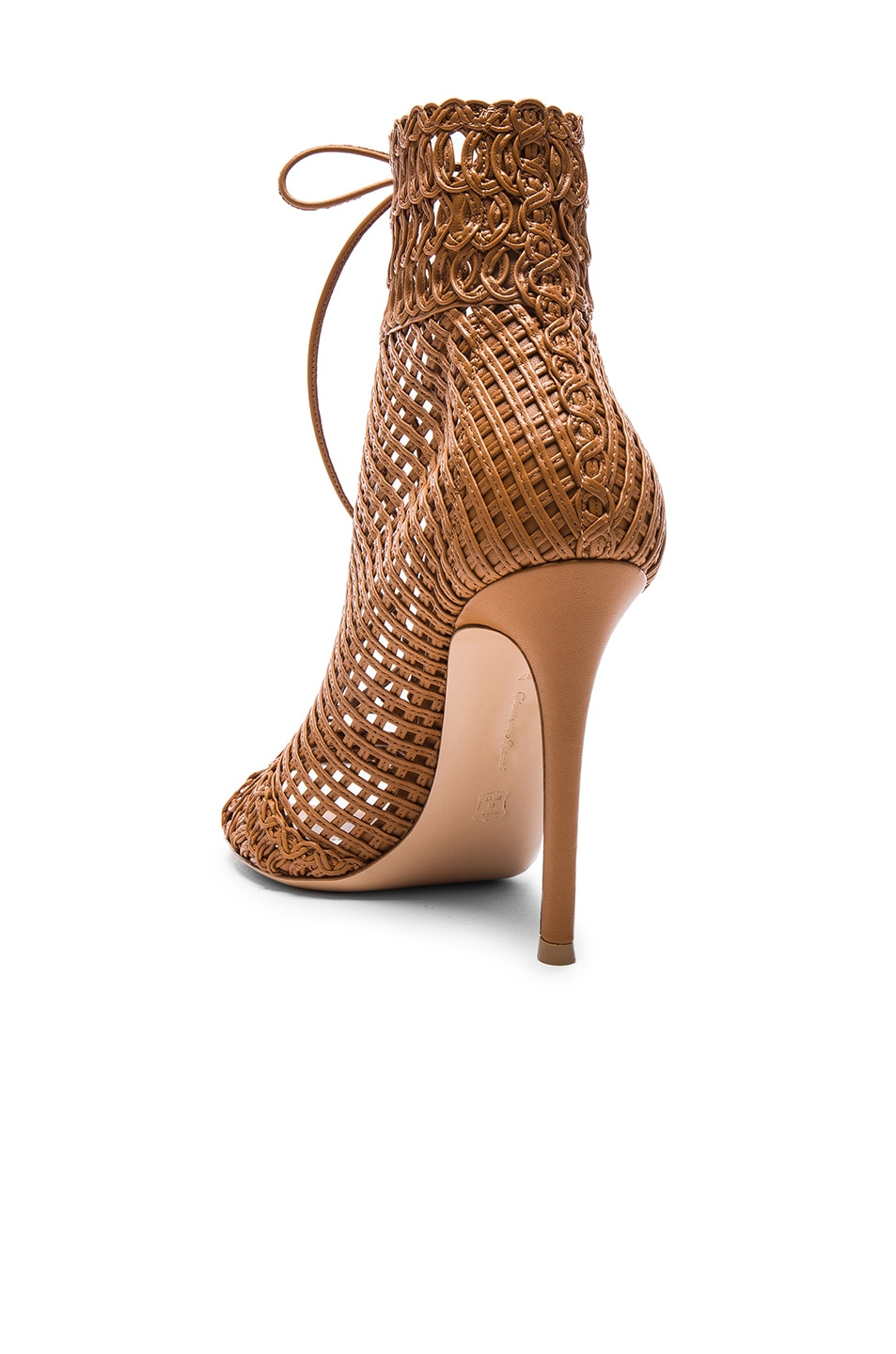Image 3 of Gianvito Rossi Woven Leather Booties in Almond