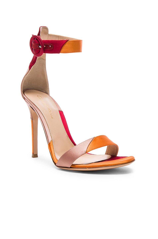 Image 2 of Gianvito Rossi Satin Portofino Heels in Spritz, Granata & Praline