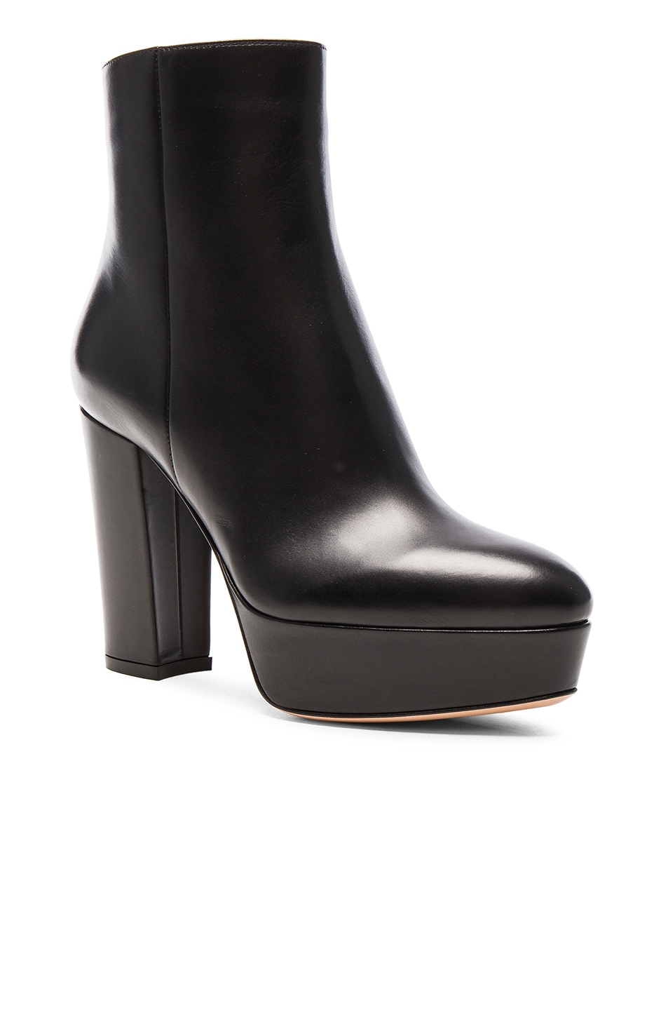 Image 2 of Gianvito Rossi Platform Leather Boots in Black