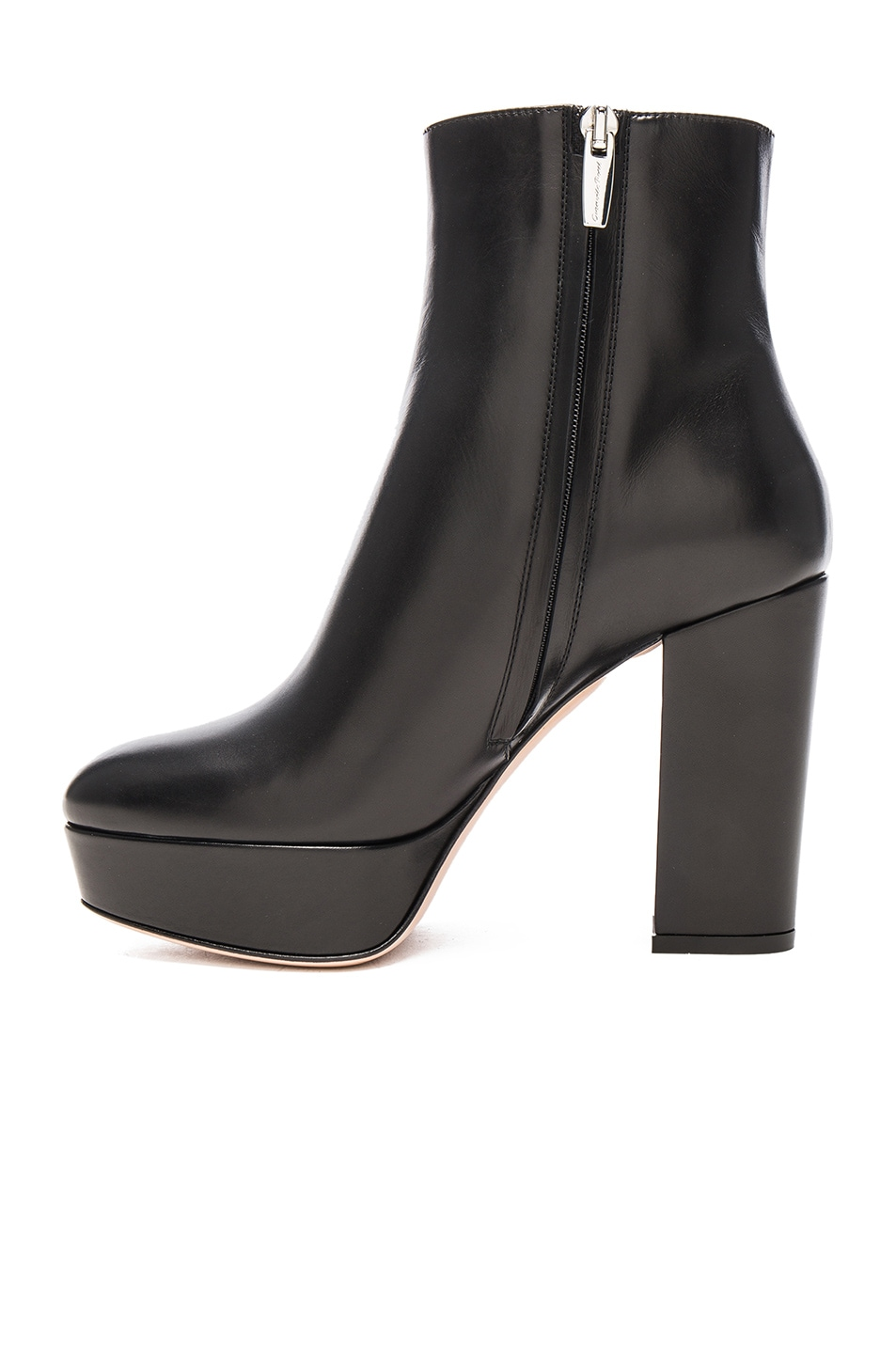 Image 5 of Gianvito Rossi Platform Leather Boots in Black