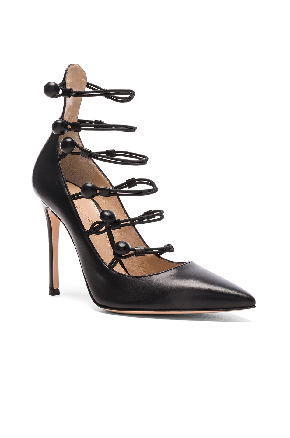 Image 2 of Gianvito Rossi Leather Strap Sandals in Black