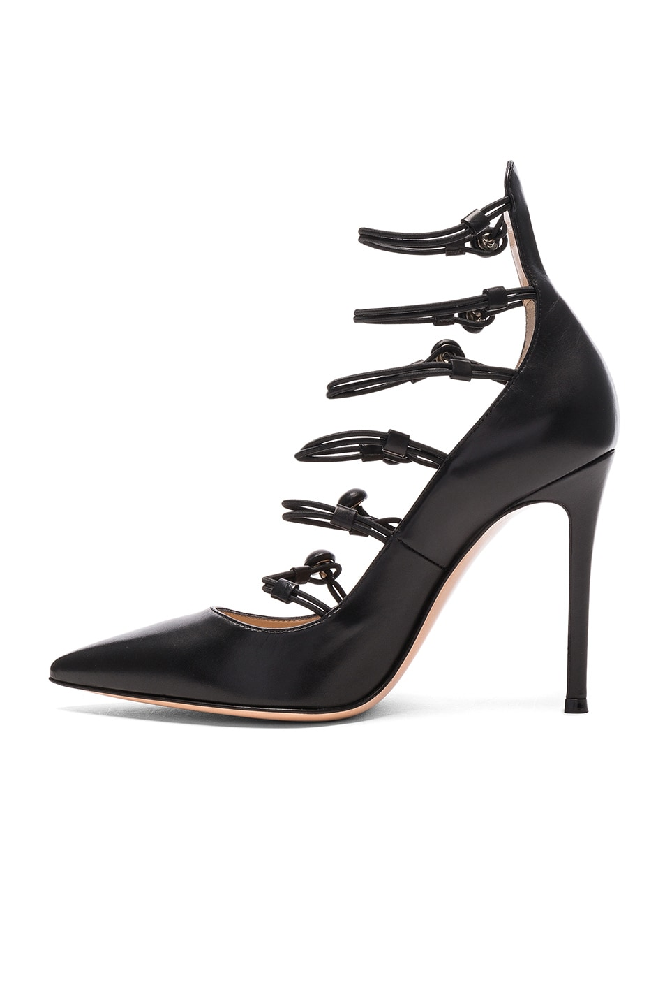 Image 5 of Gianvito Rossi Leather Strap Sandals in Black