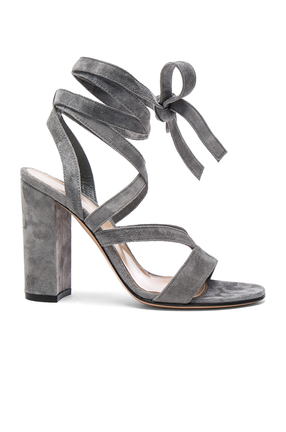 Image 1 of Gianvito Rossi Suede Janis High Sandals in Fumo