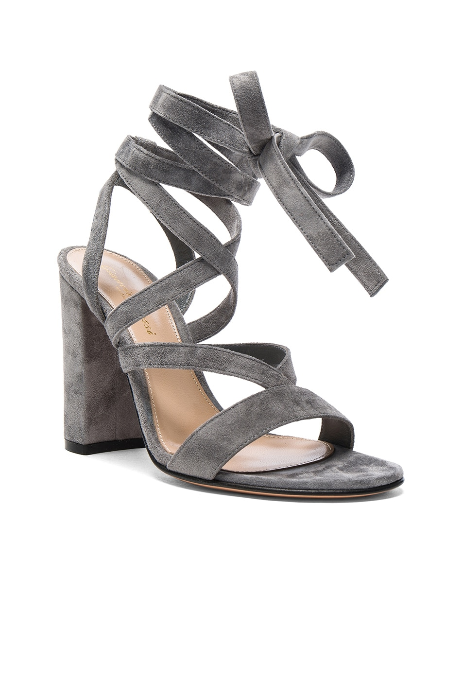 Image 2 of Gianvito Rossi Suede Janis High Sandals in Fumo