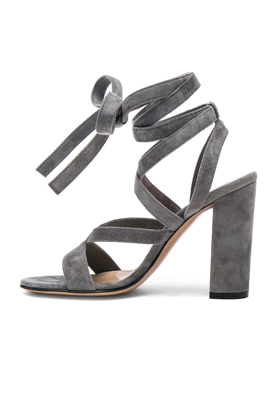 Image 5 of Gianvito Rossi Suede Janis High Sandals in Fumo