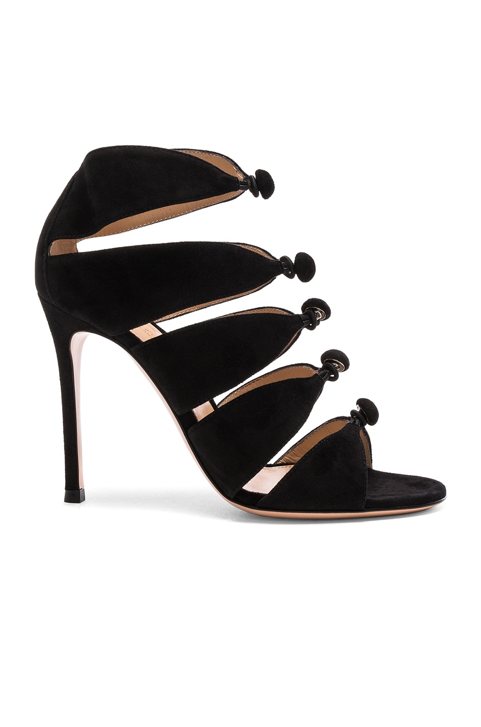 Image 1 of Gianvito Rossi Suede Knot Heels in Black
