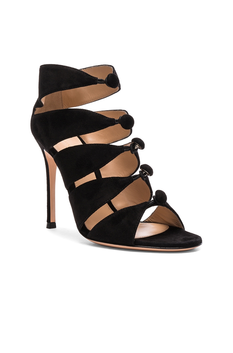Image 2 of Gianvito Rossi Suede Knot Heels in Black