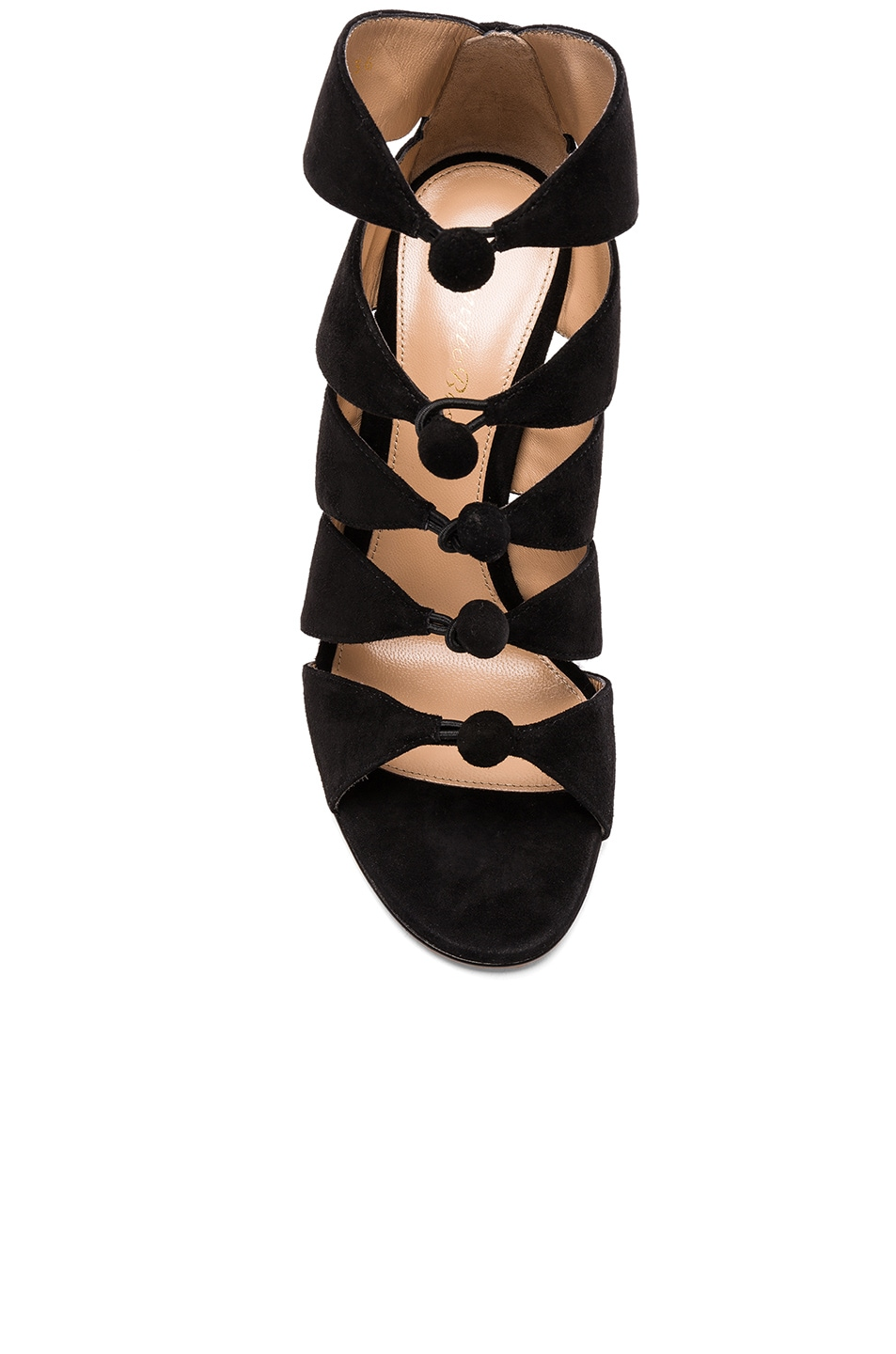 Image 4 of Gianvito Rossi Suede Knot Heels in Black