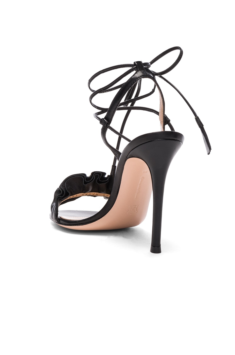 Image 3 of Gianvito Rossi Leather Ruffle Heels in Black