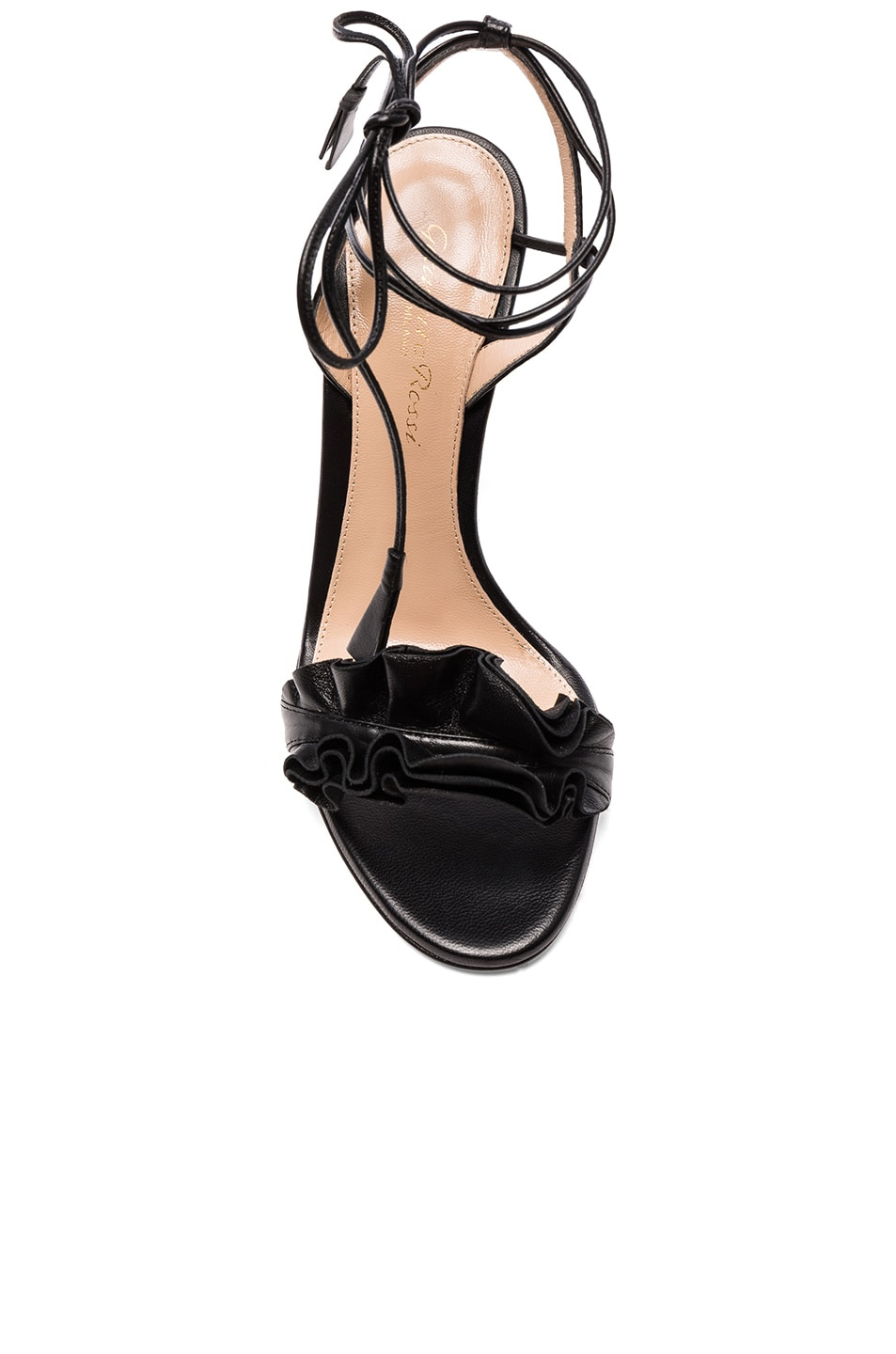 Image 4 of Gianvito Rossi Leather Ruffle Heels in Black