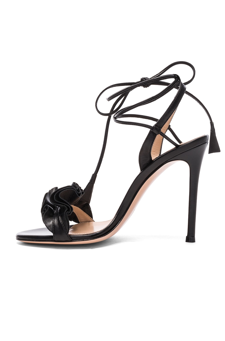 Image 5 of Gianvito Rossi Leather Ruffle Heels in Black