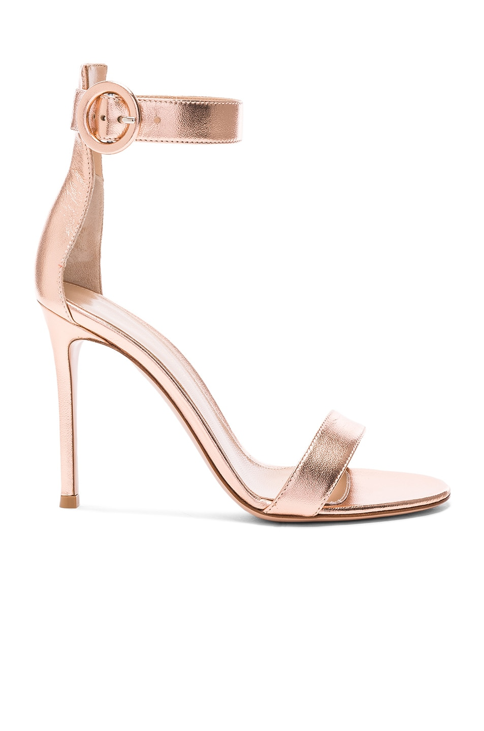 Image 1 of Gianvito Rossi Metallic Leather Ankle Strap Heels in Praline