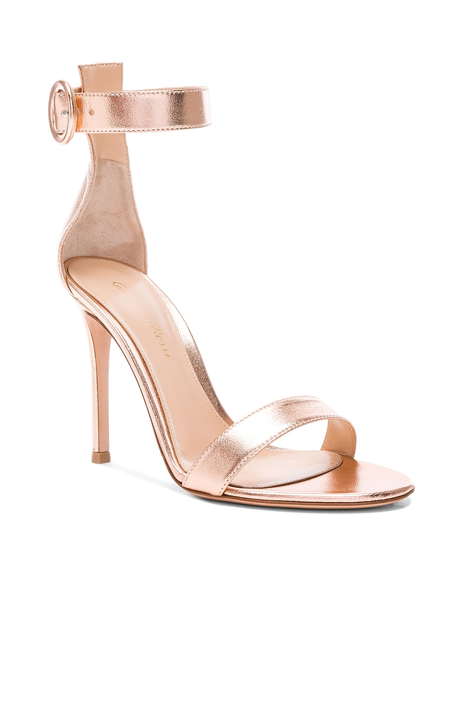Image 2 of Gianvito Rossi Metallic Leather Ankle Strap Heels in Praline