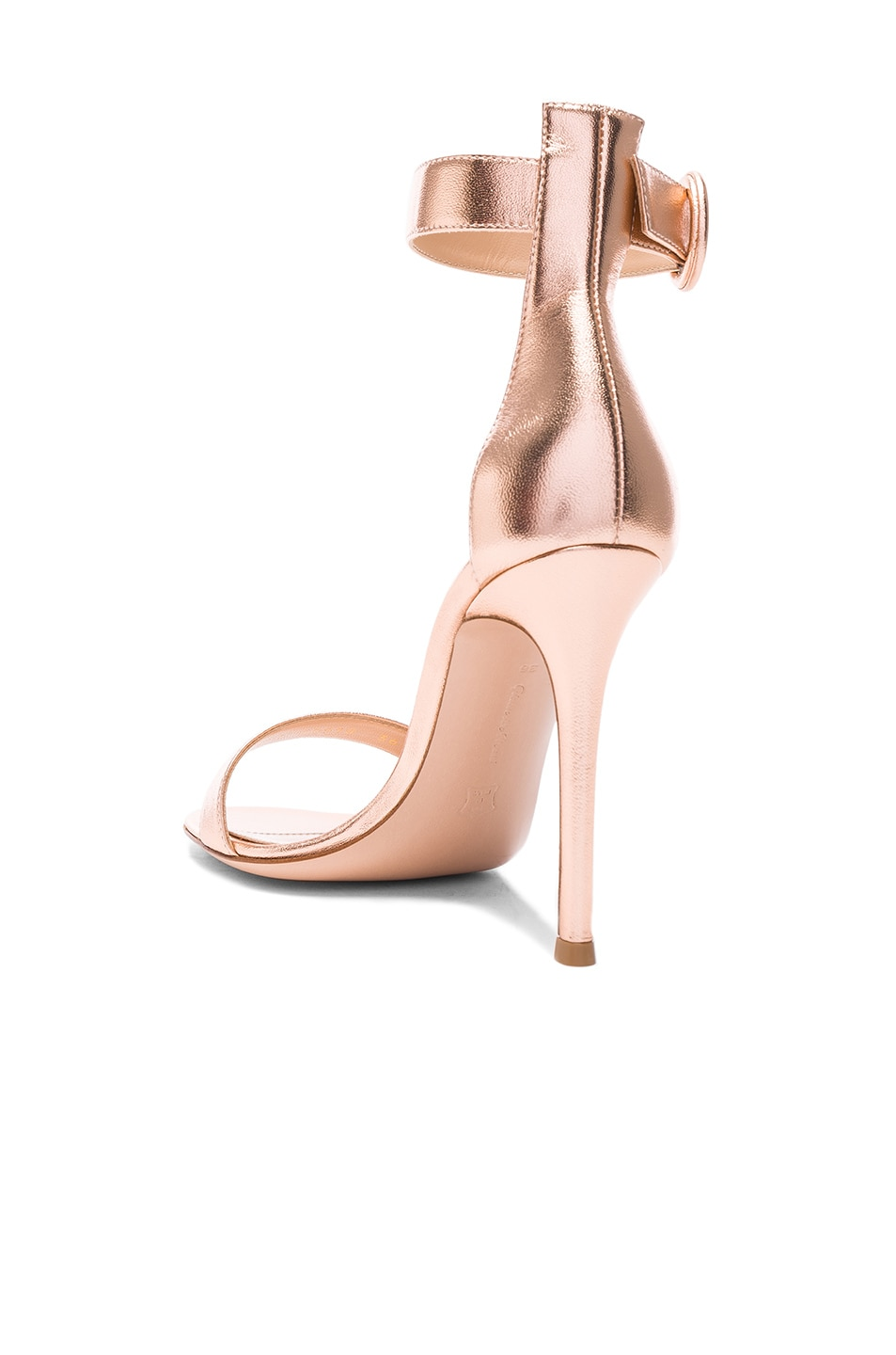Image 3 of Gianvito Rossi Metallic Leather Ankle Strap Heels in Praline