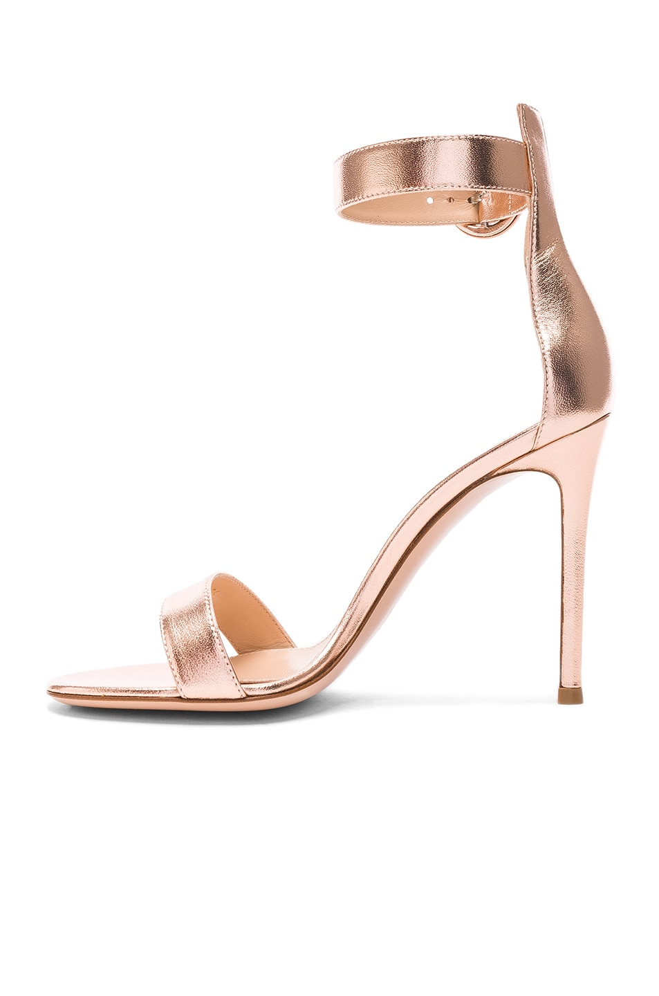 Image 5 of Gianvito Rossi Metallic Leather Ankle Strap Heels in Praline