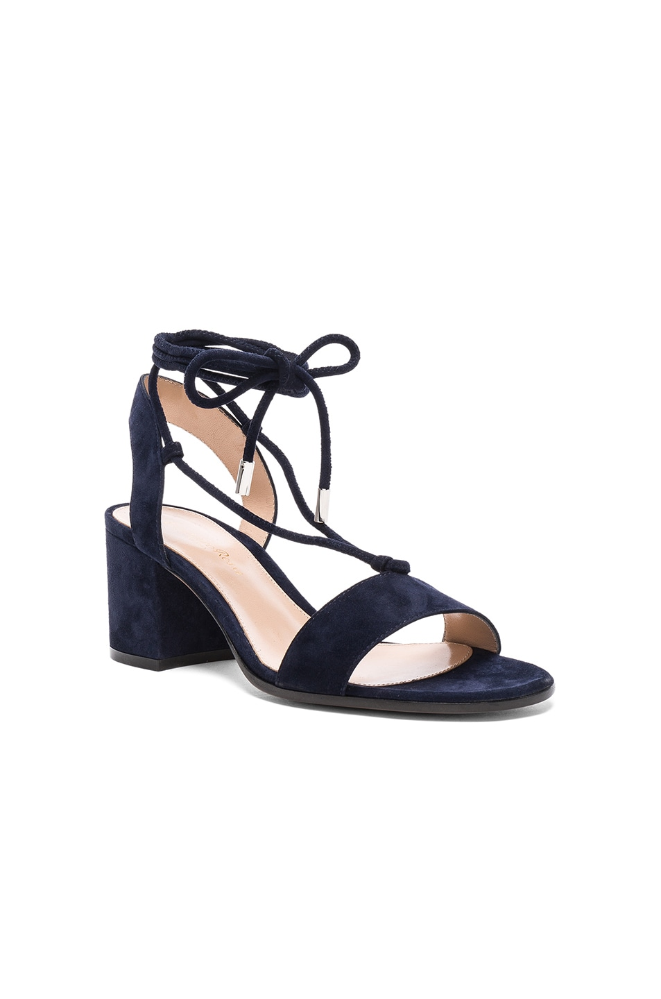 Image 2 of Gianvito Rossi Suede Lace Up Leather Sandals in Denim